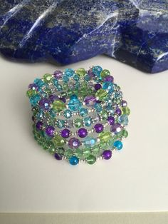 Green Purple and Turquoise Memory Wire Bracelet by KarmicDelights