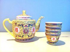 Chinese 5pc Tea Set/Yellow Chinese Tea Set/Traditional Chinese