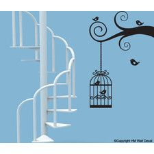 Cutie Birds and Cages, Branch Removable Wall Art Decal Set