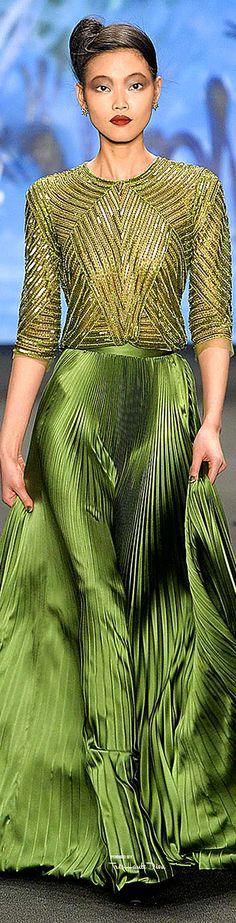 Naeem Khan Fall ~ Pleated Skirt Evening Dress, Emerald Green, 2015