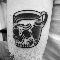 Motivational Coffee Cup Tattoo On Arm for Women