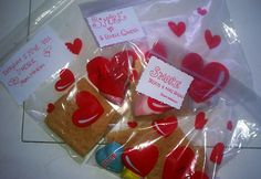 S'more treats for V-day at dollar tree strawberry marshmallow hearts. Heart message chocolate.