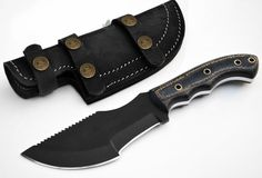 1095 Black Powder Coated Steel Tracker Knife Black & Brown Micarta Hunting Skinning Custom Knife Leather Sheath [A-KNIFE-34-1095-BLACK]