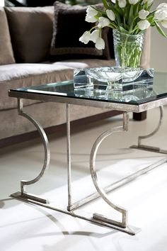 Alessia Cocktail Table from Collection Ten by @ebanistacollect.  Contemporary coffee table in antiqued silver finish.  Available with clear glass or antiqued mirror top. Discover more at www.ebanista.com