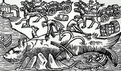 Medieval woodcut of a beached whale being cut up
