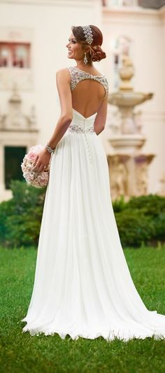 Classic and ethereal, this chiffon Grecian-style wedding gown from the Stella York collection takes beachside romance to the next level. The perfect beach wedding dress. Crystal Wedding Dresses, Chiffon Wedding Gowns, Dream Wedding Dresses, Bridal Gowns, Lace Wedding, Gown Wedding, Mermaid Wedding, Elegant Wedding, Crystal Dress