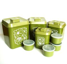 1970s Avocado Green Canister Set, Retro Kitchen Canisters with Storage Cups, Set of 8 Avocado Green Floral Storage Containers