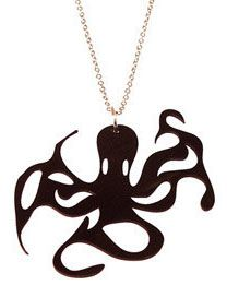 Octopus Shaped Necklace cut out of a recycled vinyl record!