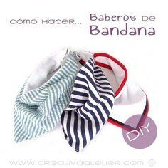 Tutorial que muestra el paso a paso para confeccionar un babero de bandana para bebé