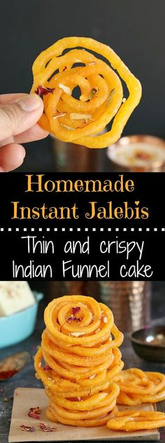 Sinfully sweet and delicious, spiral shaped Indian fun… Homemade Instant Jalebis. Sinfully sweet and delicious, spiral shaped Indian funnel cake is an addictive festive sweet. Indian Desserts, Indian Sweets, Indian Snacks, Indian Dishes, Indian Food Recipes, Easy Indian Dessert Recipes, Sweets Recipes, Cooking Recipes, Vegan Recipes
