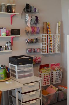 Her Story: Holy Craft! Several IKEA products used for storage. Some really good ideas here. Her Story: Holy Craft! Several IKEA products used for storage. Some really good ideas here. Craft Room Storage, Gift Bag Storage, Craft Organization, Diy Storage, Storage Ideas, Storage Organizers, Organizing Ideas, Ribbon Storage, Organizing Life