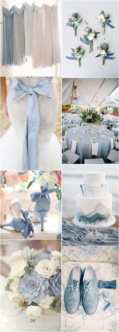 Blue Wedding Flowers - With such a wide spectrum of different colors, blue is really a tricky color to work with for nuptials. And today we mainly focus on dusty blue, which is so subtle yet versatile for any themes or seasons. Grey Wedding Theme, Blue Wedding Flowers, Wedding 2017, Wedding Color Schemes, Wedding Themes, Trendy Wedding, Wedding Decorations, Wedding Ideas, Unique Wedding Colors