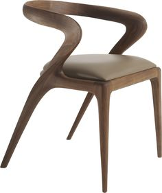 Salma Dining Chair By Agrippa Contemporary, Transitional, MidCentury Modern, Leather, Wood, Dining Chair by Collective Form