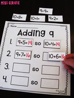 Teaching students to mentally move 1 over to add 9 is a great mental math strategy