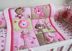 100% Cotton Pink embroidery elephant Lions giraffes Appliqued animals Baby Cot Crib Bedding Set Quilt Bumper bedskirt Fitted -in Bedding Sets from Mother & Kids on Aliexpress.com | Alibaba Group