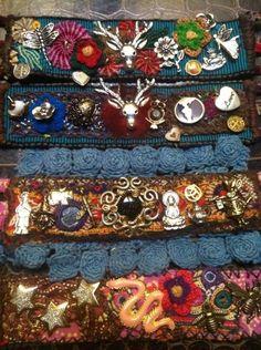 Textile amulet bracelets.