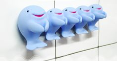 Whale Family Toothbrush Holders - one for mama whale and one for allll her behbehs
