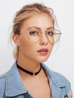 Clear Frame Cat Eye Glasses -SheIn(Sheinside)