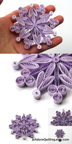 Snowflakes Purple Frosty Christmas Tree Decoration Winter Ornaments Gifts Topper Filler Office Corporate Paper Quilling Quilled Handmade Art