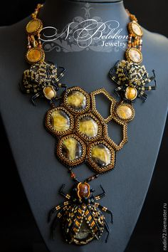Купить Медово пчелиное колье - Медовый, колье, украшение на шею, украшения ручной работы, украшение