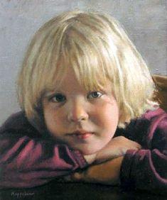 portrait: 'Marchje Jansen' oil on canvas by Dutch painter Frans Koppelaar. Potrait Painting, Oil Portrait, Dutch Artists, Beautiful Children, Beautiful Artwork, Figurative Art, Amazing Art, Art For Kids, Classic Portraits