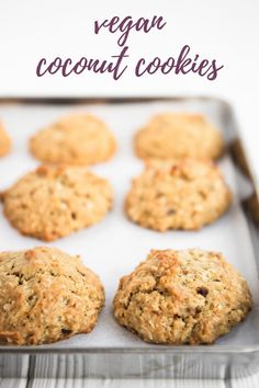 These vegan coconut cookies are absolutely delicious. They're thick and cakey, just sweet enough, with the perfect balance of banana and coconut flavour. They go great with your morning cup of coffee, and make the ultimate afternoon sweet snack. Plus, they're egg, dairy and nut free! #vegan #cookies Vegan Sweets, Vegan Desserts, Vegan Recipes, Snack Recipes, Dessert Recipes, Vegan Blogs, Snacks, Easy Vegan Cookies, Coconut Cookies