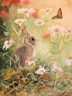 Bunny rabbit painting Easter bunny watercolor by TivoliGardens, $30.00