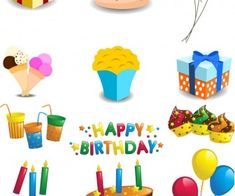 Cartoon Happy Birthday decorations vector