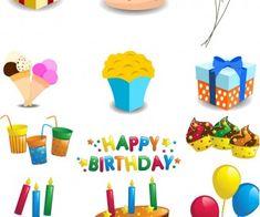 Cartoon Happy Birthday decorations vector