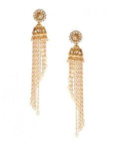 Floral Jhumki Earrings with Pearls- Buy Earrings,Preeti Mohan Online