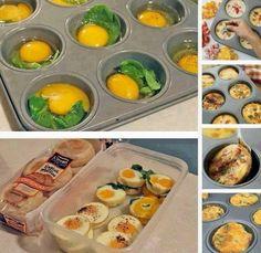 Foood Style: Awesome egg breakfast idea Mini Frittata, Moule Muffin, Egg Muffins, Breakfast Muffins, Funny Breakfast, Breakfast Crowd, Breakfast Recipes, Dessert Recipes, Breakfast Buffet