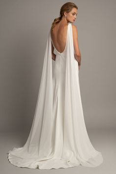 jenny yoo spring 2019 bridal long hanging sleeves deep v neck simple minimalist elegant clean look modified a line wedding dress backless scoop back short train bv -- Jenny Yoo Spring 2019 Wedding Dresses Western Wedding Dresses, Classic Wedding Dress, New Wedding Dresses, 50s Wedding, Spring Wedding, Spring Dresses, Dresses Uk, Bridal Collection, Bridal Gowns