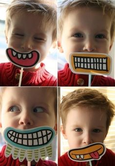 Clever photo booth props for a Cute Monster's Party! They'd make sweet favors as well.