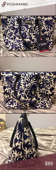 NEW - Navy and cream floral CHAPS travel bag NEW - Navy and cream floral CHAPS travel bag. This is part of the Jordan collection. Bottom width is 15 inches,  top width is 20 inches, it is 13 inches high and 9 inches wide. The two-tone blues are absolutely gorgeous with the cream it is a rich combination. Inside it has a section for your laptop, as well as, is it compartment. Chaps Bags Travel Bags