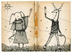 The meeting at the building will soon be over. Drawing by Jon Carling