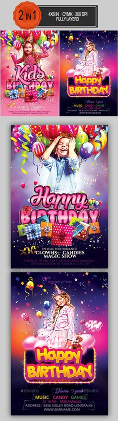 #Kids #Birthday #Flyer Bundle - #Clubs & #Parties #Events.
