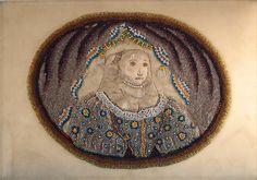 Stumpwork & Beadwork Portrait of a Lady ; Tent Stitch, Animal Bones, Beaded Collar, Lost Art, Jewelry Case, Art Furniture, Casket, Ancient Art, 17th Century