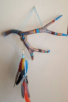 Decorated Deer Antler Southwest Decor Wall Art Native American Inspired