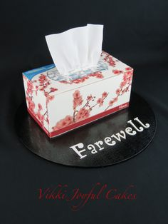 Tissue box cake made to Farewell one of my team at work.  Credit to Yummies special cakes & treats, for the original design