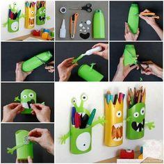 How to Turn Shampoo Bottles Into Monster Pencil Holders | www.FabArtDIY.com