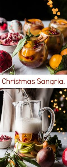 Christmas Sangria | white wine, ginger beer, sliced pears, sliced oranges, pomegranate seeds, cinnamon sticks + cinnamon sugar rim #holiday #cocktail