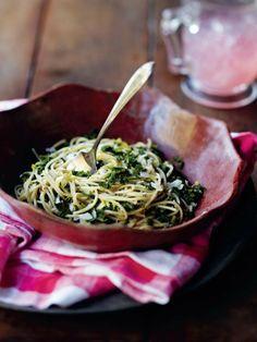 Spaghetti with Garlic, Lemon, Kale, and Parmesan