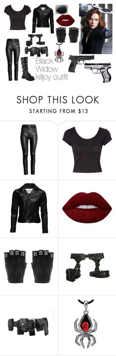"""Black Widow killjoy outfit"" by devil-darlin2019 ❤ liked on Polyvore featuring H&M, Jane Norman, VIPARO, Lime Crime, Majesty Black, Skingraft, POLICE and Smith & Wesson"