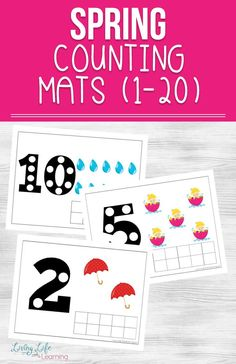 Get your child counting to 20 with these fun printable spring counting mats. My daughter loves using pom poms with these. Use these counting mats to help with addition and subtraction up to 20 as well.  #counting #math #preschool #kindergarten #homeschool #spring