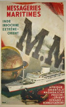 Messageries Maritimes Inde Indochine Extreme-Orient  Item #: TRV-1450  Category: Travel  Artist: A. Brenet  Circa: 1948  Origin: France  Dim: 12 1/2 x 19 1/2 in.