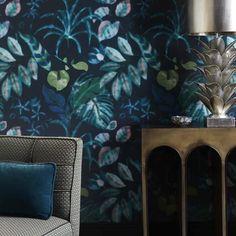 Nobilis Hibiscus tapéta | Paisley Home - Nobilis luxus tapéták teljes választéka Living Room Green, Green Wallpaper, Hibiscus, Paisley, Tapestry, House Design, Painting, Home Decor, Life