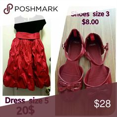 Christmas  girls size 5 set shoes and dress The dress is size 5 and the shoe's is size 3 ready for Christmas price is for the set. The price for the shoes alone is 11$ and the dress 23$ please  let me know  if you like to buy individual. Thank you. jcpenney Dresses Formal