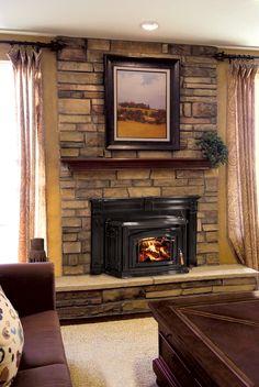 Beautiful Fireplace Insert with custom surround! We love this look - www.burlingtonfireplace.com