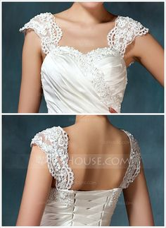 Ball-Gown Sweetheart Chapel Train Satin Tulle Wedding Dress With Ruffle Beading Appliques Lace Flower(s) (002000435) - JJsHouse