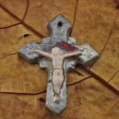 Raku Crucifix Handmade and Glazed by oscarcrow on Etsy, $9.00